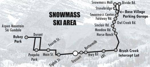 Aspen e Snowmass - mapa ônibus