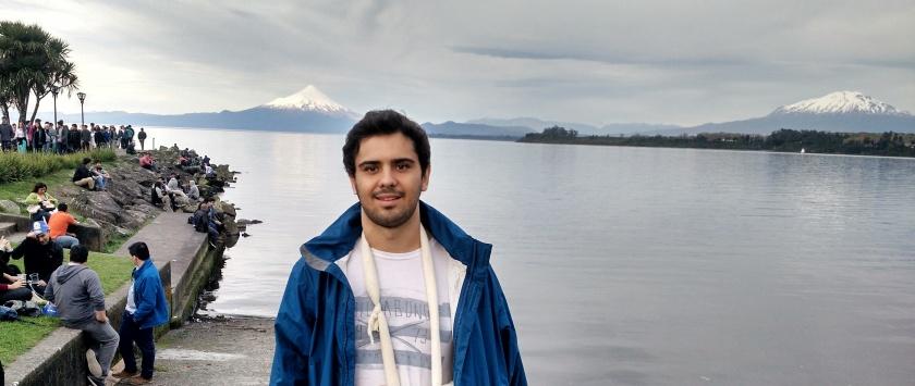 Vulcão Osorno (esqueda) e Vulcão Calbuco (direita) - e sim, eu estava com o braço quebrado!